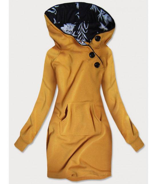 Dlhá dámska mikina s kapucňou MODA696 žltá