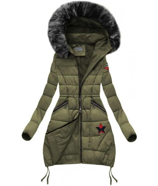 Dámska zimná bunda B3595 khaki - Dámske oblečenie  5224518dbf6