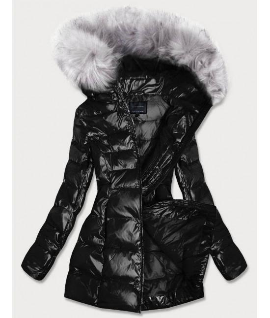 Dámska lesklá zimná bunda MODA939 čierna