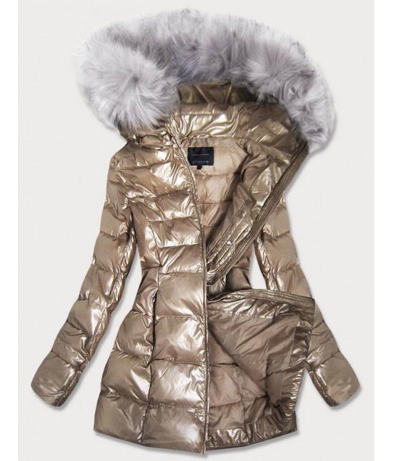 Dámska lesklá zimná bunda MODA939 zlatá
