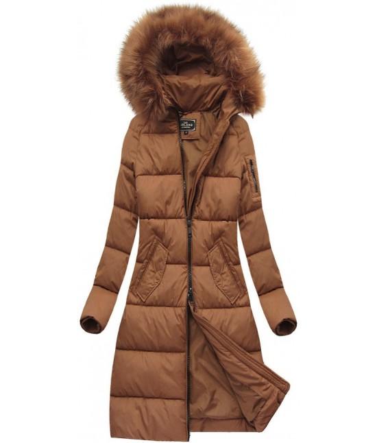 Dámska dlhá zimná bunda MODA751 hnedá veľkosť S