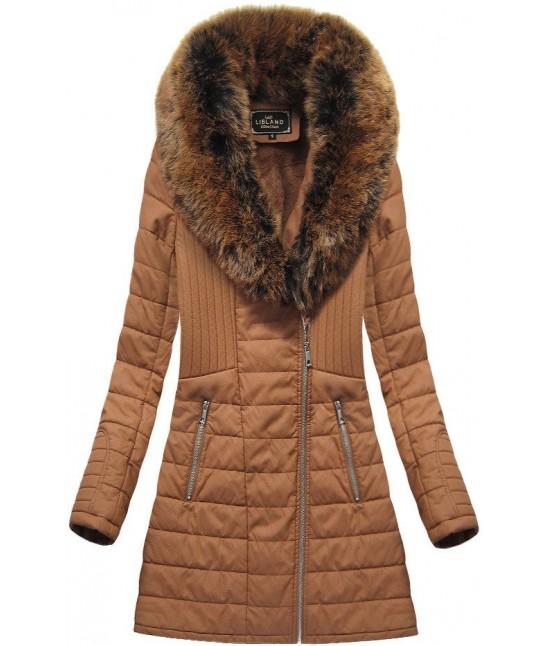 Dámska zimná bunda z eko-kože MODA520 hnedá veľkosť M