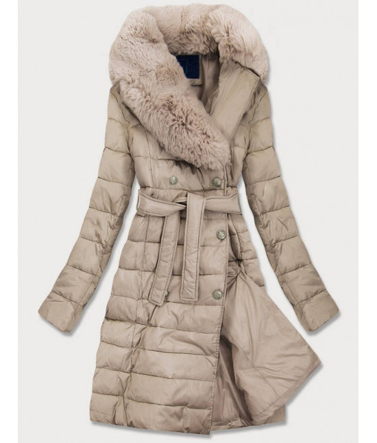 Dámska prešívaná zimná bunda s kožušinou MODA001 béžová