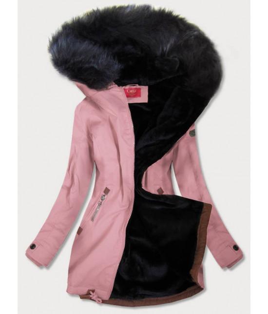 Vodeodolná dámska zimná bunda parka MODA923 ružová