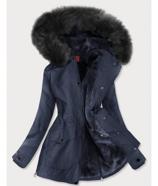 Vode-odolná dámska zimná bunda MODA176 tmavomodrá
