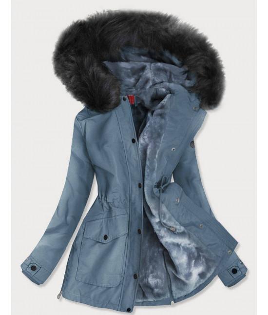 Vode-odolná dámska zimná bunda MODA176 modro-šedá