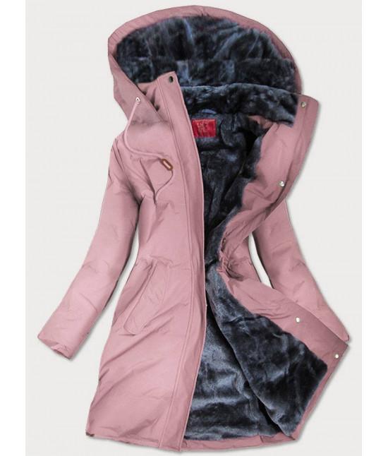 Prešívaná vodeodolná dámska zimná bunda MODA963 ružová
