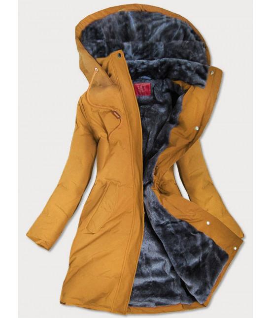 Prešívaná vodeodolná dámska zimná bunda MODA963 žltá