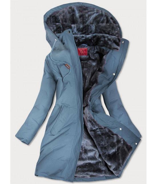 Prešívaná vodeodolná dámska zimná bunda MODA963 modrá