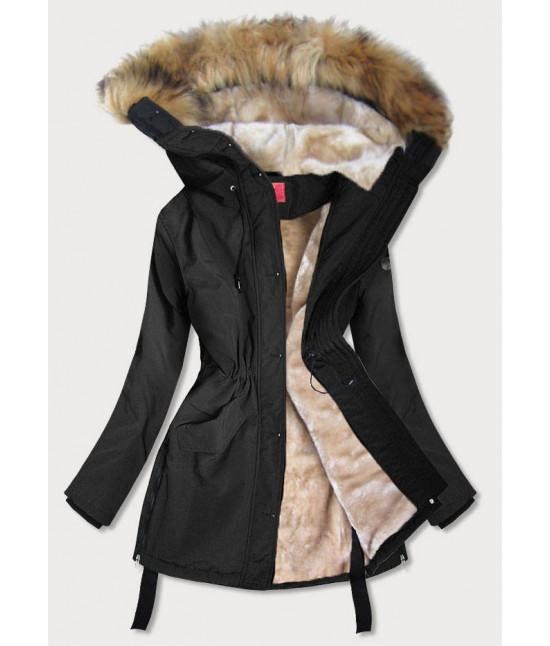 Vodeodolná dámska zimná bunda s vysokým golierom MODA953 čierna