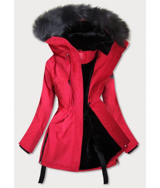Vodeodolná dámska zimná bunda s vysokým golierom MODA953 červená