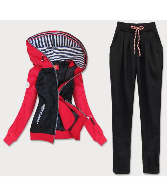 Dámska tepláková súprava MODA683 čierno-červená