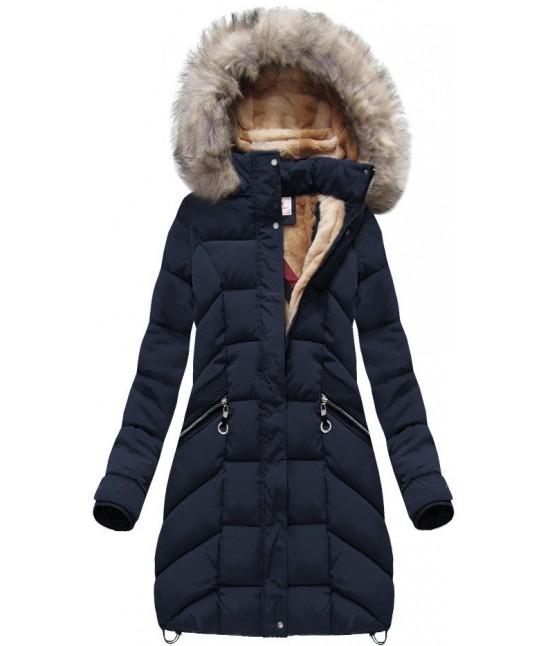 Dámska zimná bunda modrá MODA737 veľkosť M