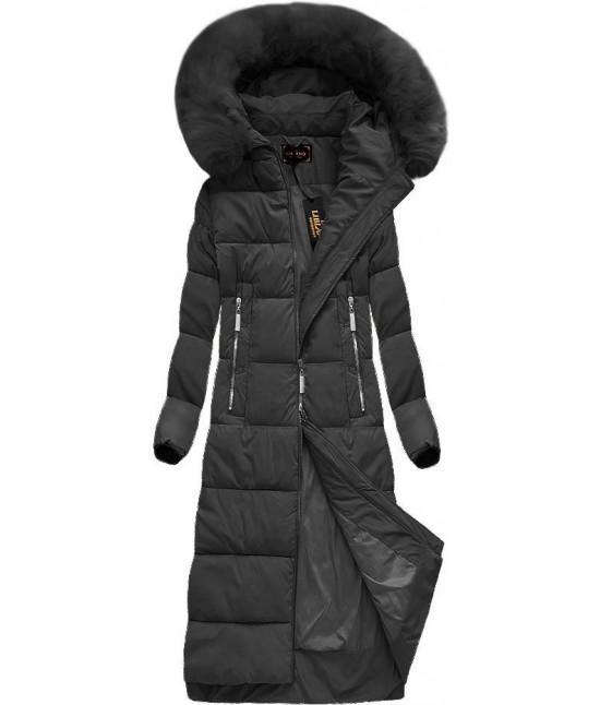 Dlhá dámska zimná bunda MODA688 čierna veľkosť XXL