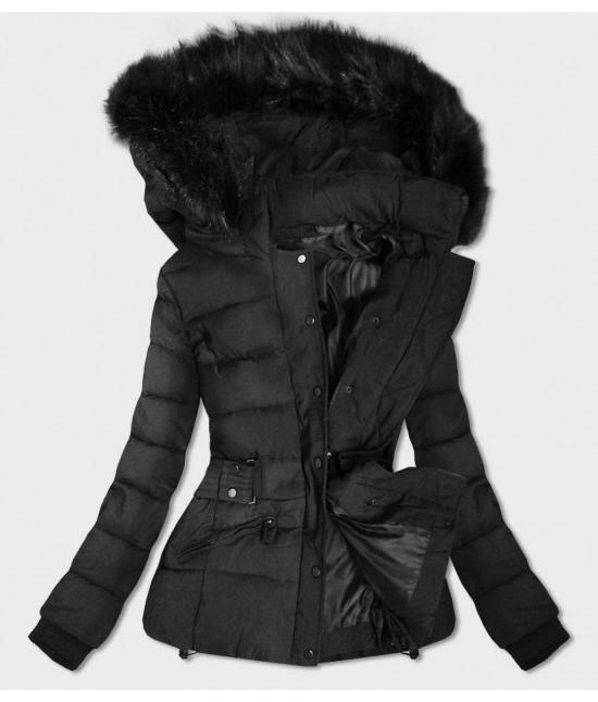 Krátka dámska zimná bunda s kapucňou MODA9539 čierna