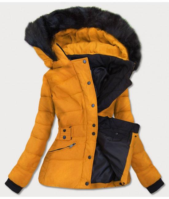Krátka dámska zimná bunda s kapucňou MODA9539 žltá