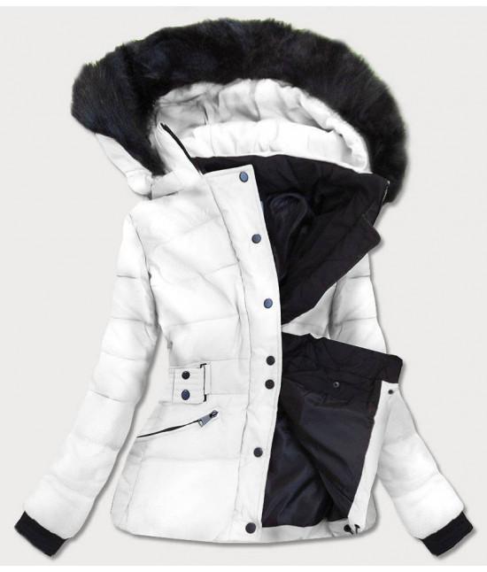 Krátka dámska zimná bunda s kapucňou MODA9539 biela