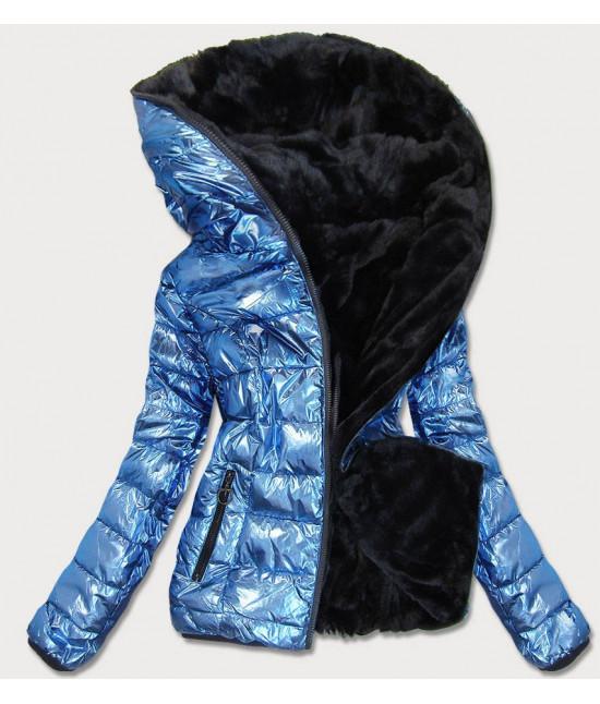 Dámska obojstranná zimná bunda MODA542 modrá