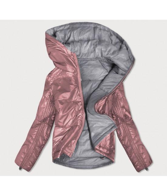 Dámska obojstranná jesenná bunda MODA553 ružovo-šedá L
