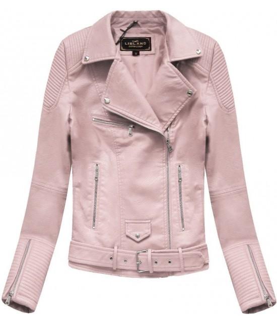 Dámska koženková bunda MODA377 ružová L