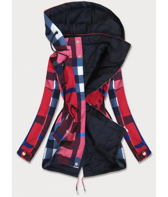 Obojstranná jesenná bunda MODA655 červeno-čierna veľkosť M