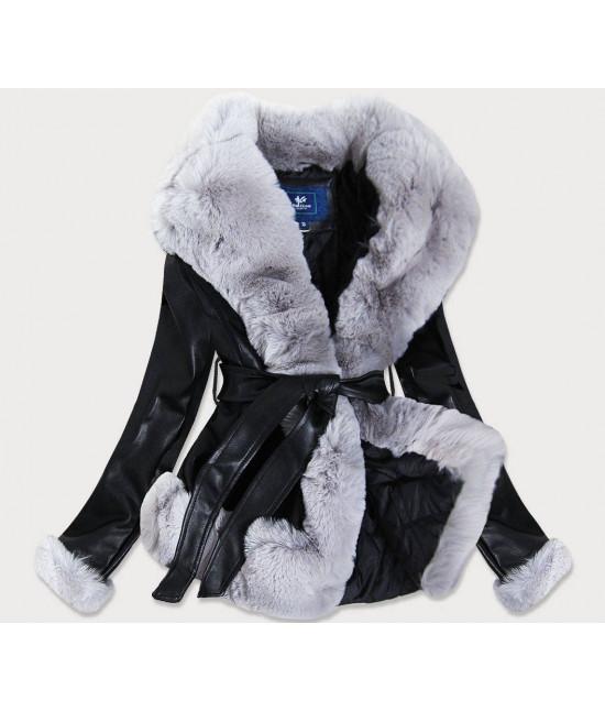 Dámska koženková bunda s kožušinou MODA905 čierna