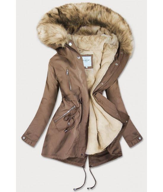 Dámska zimná bunda MODA3399 hnedá