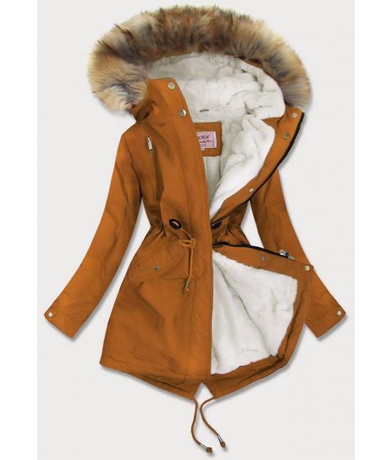 Dámska zimná bunda MODA378BIG karamelová