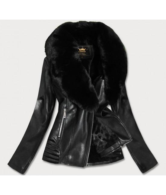 Dámska koženková bunda MODA5523BIG čierna