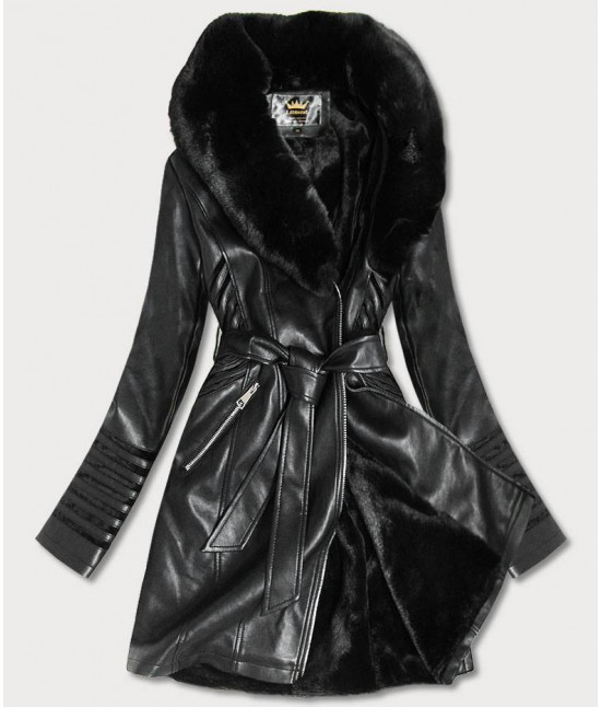Dámsky kabát z eko-kože MODA5542BIG čierny