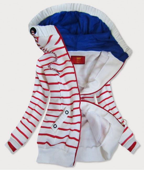 Dámska mikina MODA645 bielo-červená