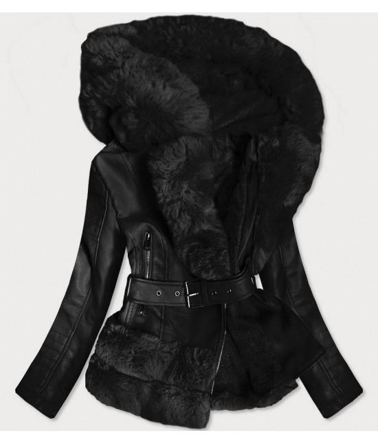 Dámska koženková bunda s kožušinou MODA585 čierna