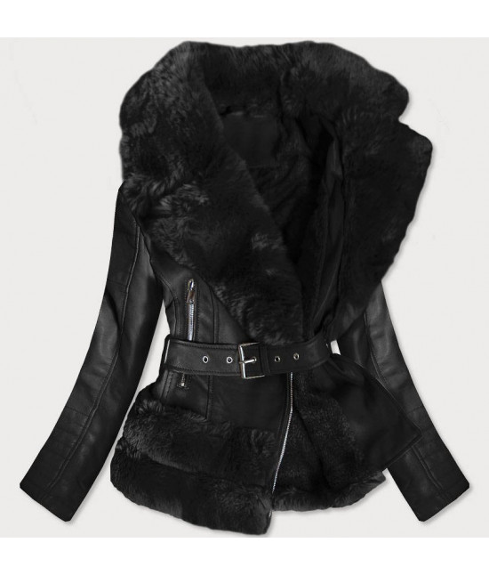 Dámska koženková bunda s kožušinou MODA580 čierna