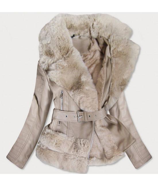 Dámska koženková bunda s kožušinou MODA580 béžová