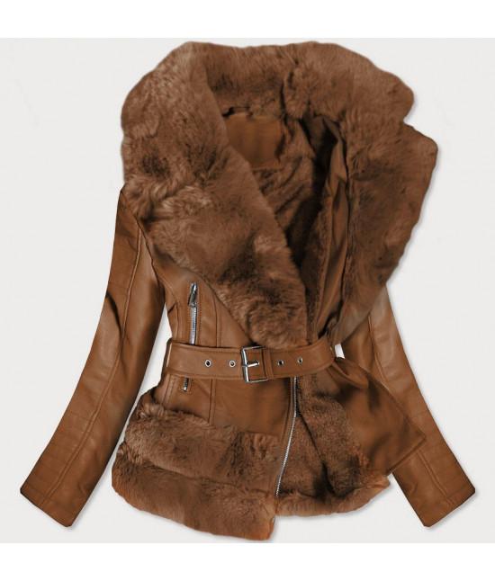 Dámska koženková bunda s kožušinou MODA580 hnedá