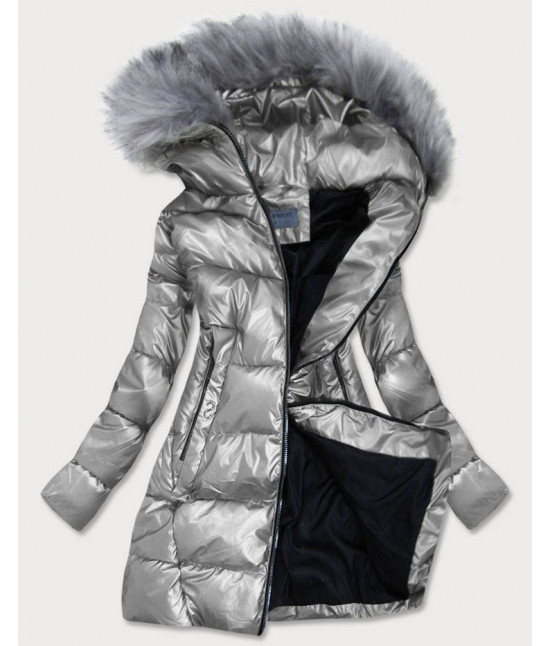Dámska zimná bunda MODA9559BIG strieborná