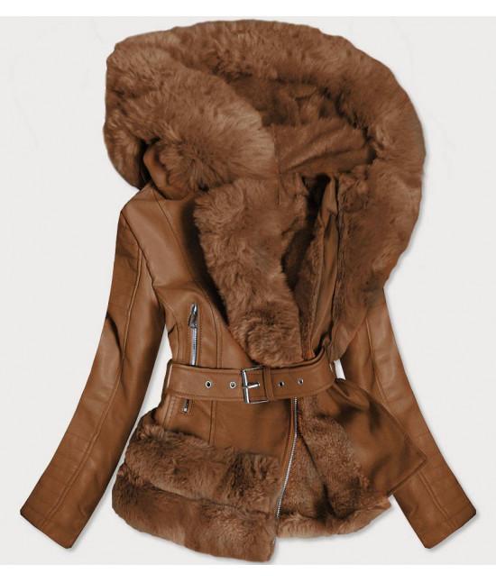 Dámska koženková bunda s kožušinou MODA585 hnedá