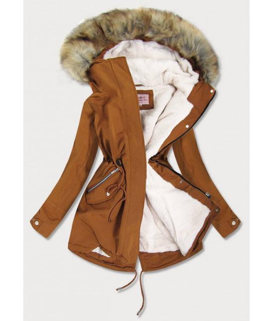 Dámska zimná bunda parka MODA379 karamelová