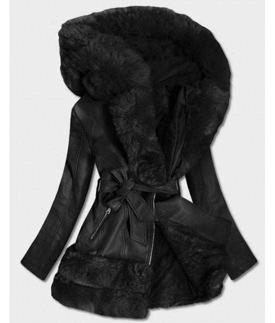 Dlhšia dámska koženková bunda MODA583 čierna