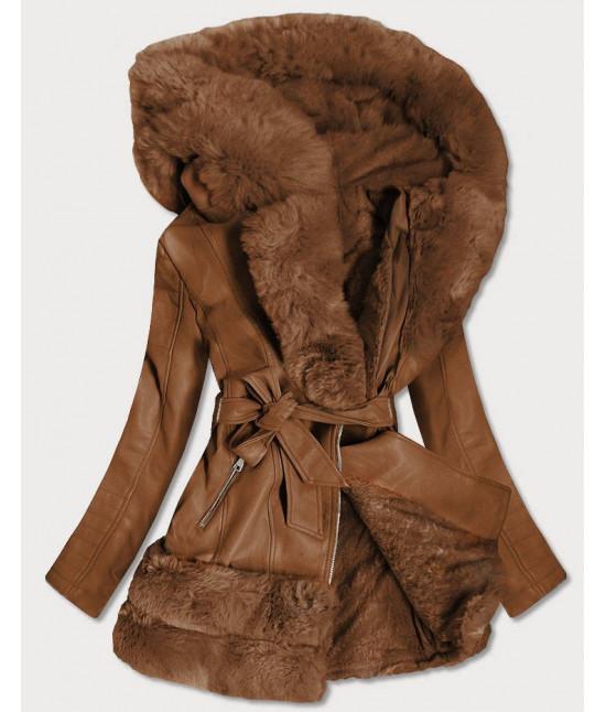 Dlhšia dámska koženková bunda MODA583 hnedá