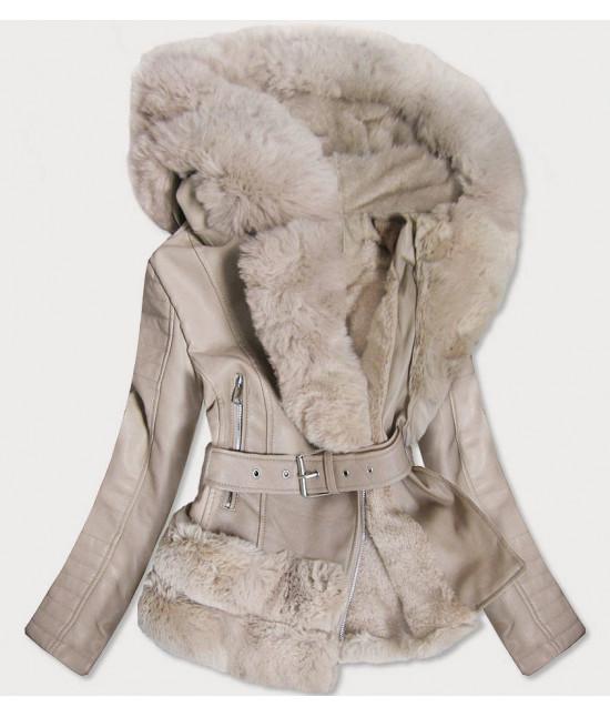 Dámska koženková bunda s kožušinou MODA585 béžová S