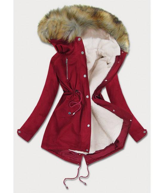 Dámska zimná bunda parka MODA998 bordová