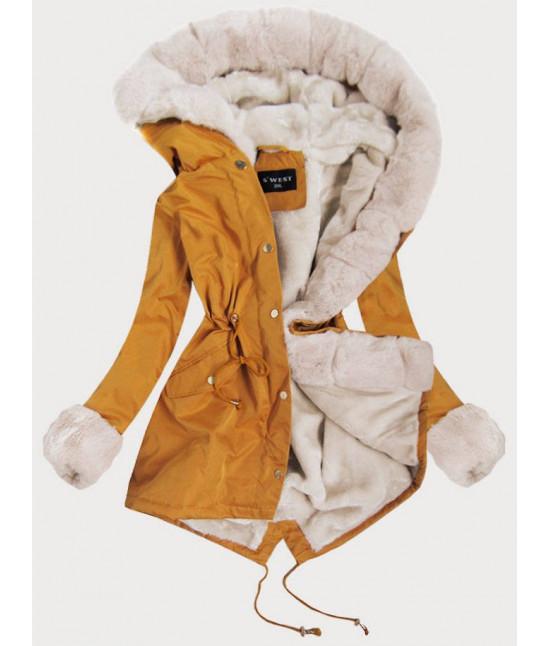 Dámska zimná bunda parka MODA521 žltá