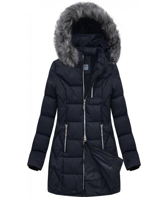 Dámska prešívaná zimná bunda MODA644 tmavomodrá veľkosť XL