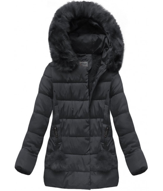 Prešívaná dámska zimná bunda MODA572 tmavomodrá veľkosť XL