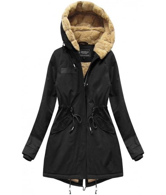Teplá zimná bunda parka MODA806 čierna veľkosť XS