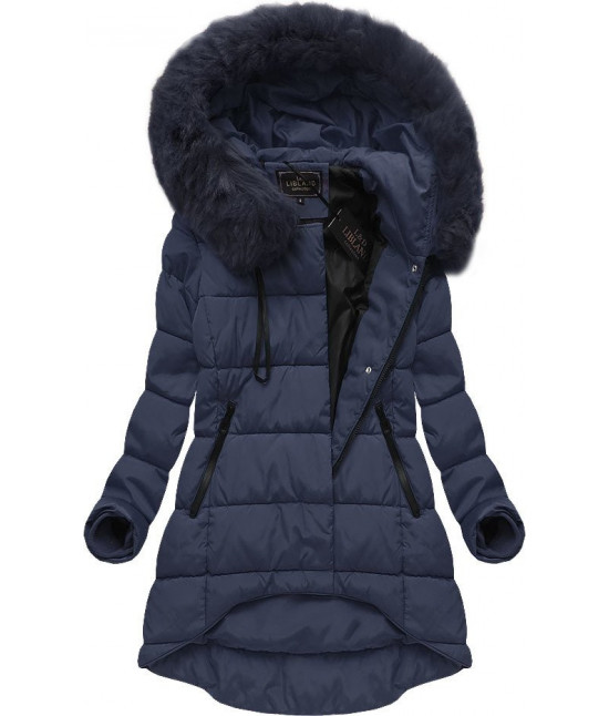 Asymetrická dámska zimná bunda MODA670BIG tmavomodrá veľkosť 5XL