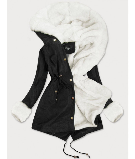 Dámska zimná bunda s kožušinou MODA523 čierna
