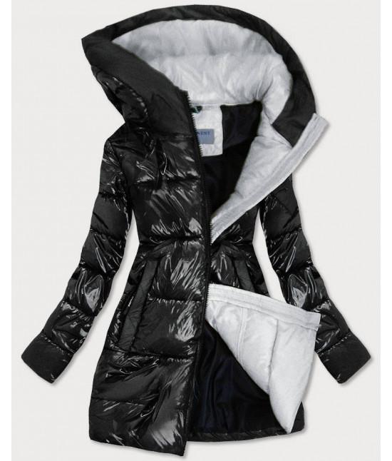 Lesklá dámska zimná bunda MODA9545 čierno-šedá M