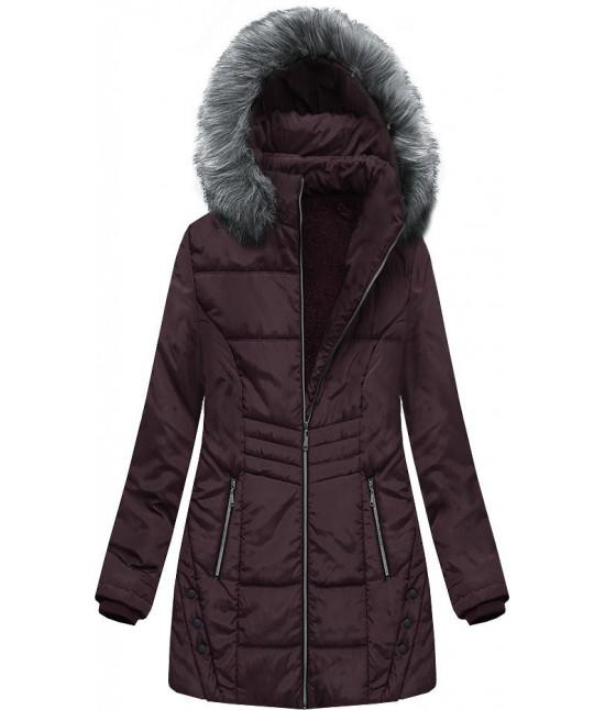 Dámska zimná bunda s kapucňou MODA625 tmavofialová veľkosť 6XL